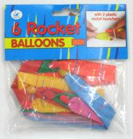 6er Raketen Luftballons, mit Pfeife, Header
