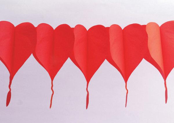 Girlande Herz rot, ca. 400 cm